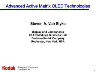 Advanced Active Matrix OLED Technologies