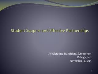 Student Support and Effective Partnerships