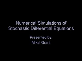 Numerical Simulations of Stochastic Differential Equations