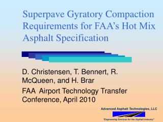 Superpave Gyratory Compaction Requirements for FAA's Hot Mix Asphalt Specification