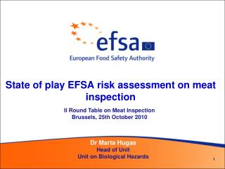 State of play EFSA risk assessment on meat inspection