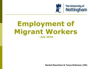 Employment of  Migrant Workers - July 2010