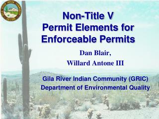 Non-Title V  Permit Elements for Enforceable Permits