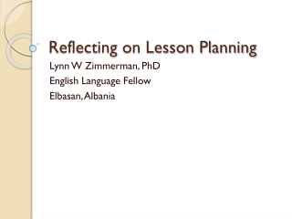 Reflecting on Lesson Planning