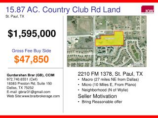 15.87 AC. Country Club Rd Land St. Paul, TX