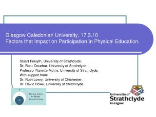 Glasgow Caledonian University, 17.3.10 Factors that Impact on Participation in Physical Education.