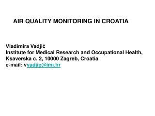 AIR QUALITY MONITORING IN CROATIA