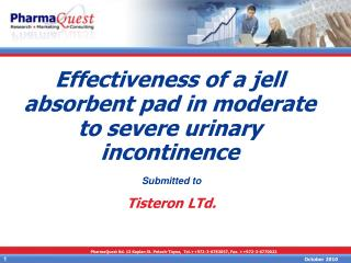 Effectiveness of a jell absorbent pad in moderate to severe urinary incontinence
