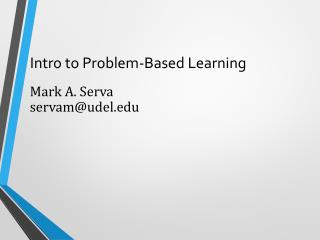 Intro to Problem-Based Learning