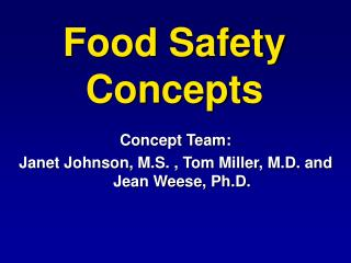 Food Safety Concepts