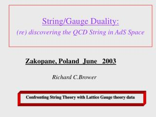 String/Gauge Duality: (re) discovering the QCD String in AdS Space