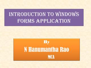 Introduction to Windows Forms Application