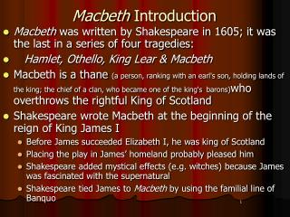 Macbeth  Introduction