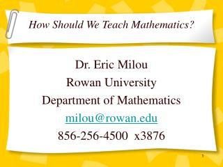 How Should We Teach Mathematics?