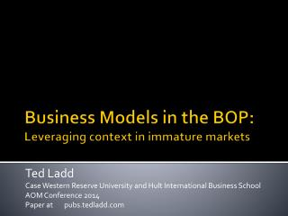 Business Models in the BOP: Leveraging context in immature markets