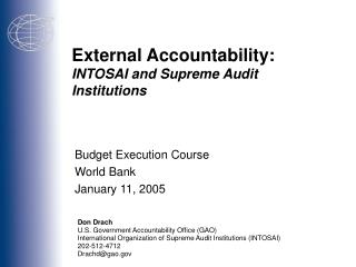 External Accountability: INTOSAI and Supreme Audit Institutions