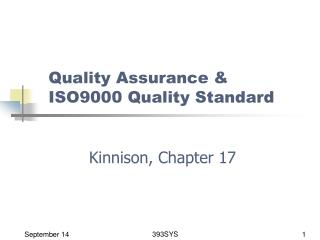 Quality Assurance & ISO9000 Quality Standard