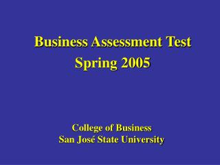 College of Business San José State University