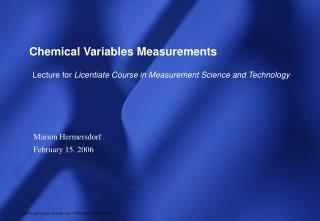 Chemical Variables Measurements