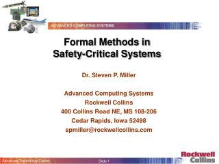 Formal Methods in  Safety-Critical Systems