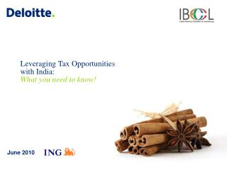 Leveraging  Tax  Opportunities  with India:  W hat  you need to know !