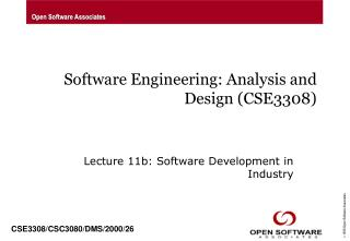 Software Engineering: Analysis and Design (CSE3308)