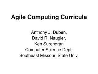 Agile Computing Curricula
