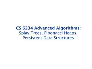 CS 6234 Advanced Algorithms: Splay Trees, Fibonacci Heaps, Persistent Data Structures