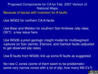 Proposed Components for CA for Feb. 2007 Version of National Maps