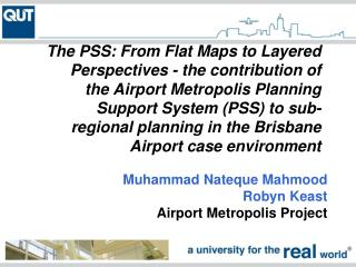 Muhammad Nateque Mahmood Robyn Keast Airport Metropolis Project