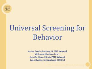Universal  Screening for Behavior
