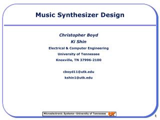 Music Synthesizer Design