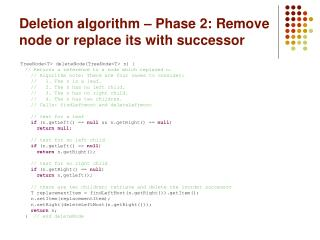 Deletion algorithm – Phase 2: Remove node or replace its with successor