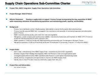 Supply Chain Operations Sub-Committee Charter