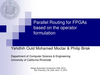 Parallel Routing for FPGAs based on the operator formulation