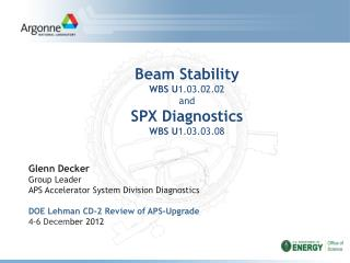 Beam Stability WBS U 1.03.02.02 and SPX Diagnostics WBS U 1.03.03.08