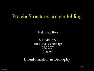 Protein Structure: protein folding