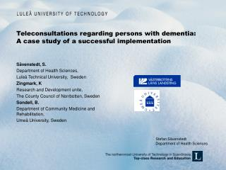 Teleconsultations regarding persons with dementia: A case study of a successful implementation
