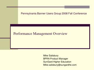 Performance Management Overview
