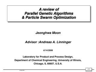 A review of  Parallel Genetic Algorithms & Particle Swarm Optimization