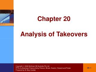 Chapter 20 Analysis of Takeovers