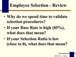 Employee Selection - Review