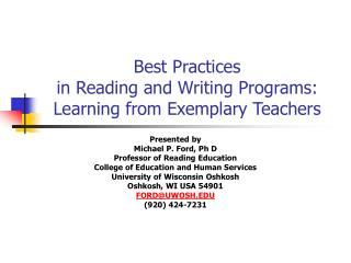 Best Practices  in Reading and Writing Programs: Learning from Exemplary Teachers