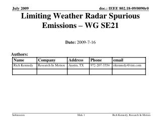 Limiting Weather Radar Spurious Emissions – WG SE21