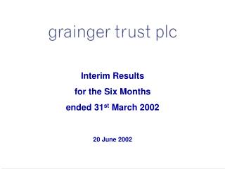 Interim Results for the Six Months ended 31 st  March 2002  20 June 2002