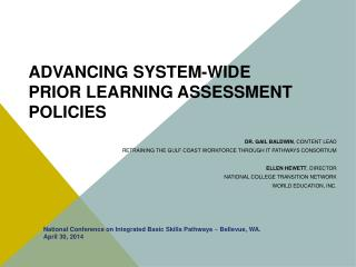 ADVANCING SYSTEM-WIDE  PRIOR LEARNING ASSESSMENT POLICIES