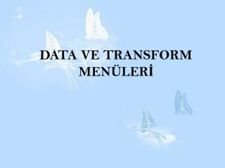 DATA VE TRANSFORM MENÜLERİ