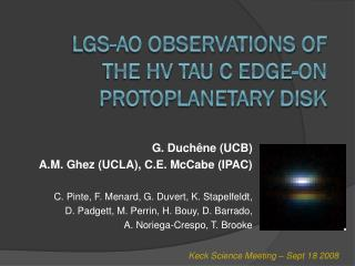 LGS-AO observations of the HV  Tau  C edge-on  protoplanetary  disk