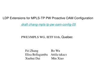 LDP Extensions for MPLS-TP PW Proactive OAM Configuration draft-zhang-mpls-tp-pw-oam-config-05