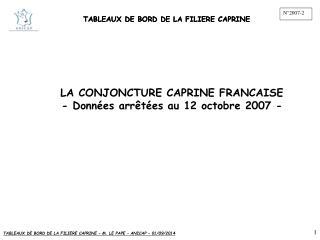 TABLEAUX DE BORD DE LA FILIERE CAPRINE